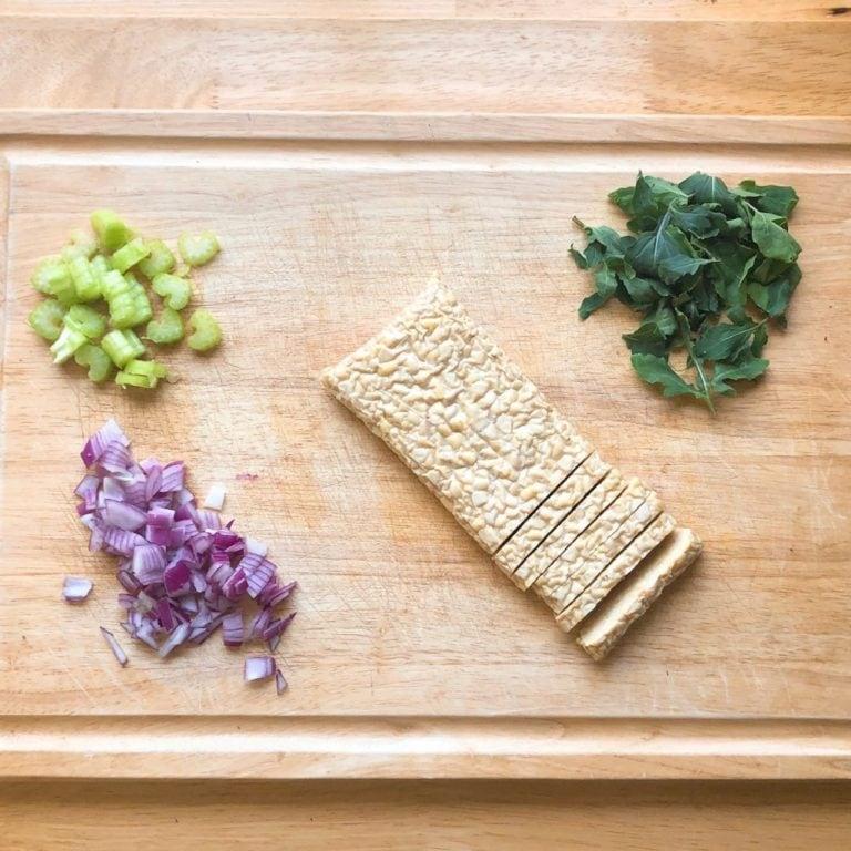 Buffalo Ranch Tempeh Bowl Ingredients Chopping Board | FurloughedFoodie.com