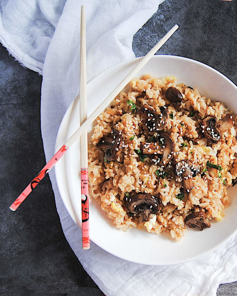 Famous Mushroom Fried Rice - Portrait With Chopsticks