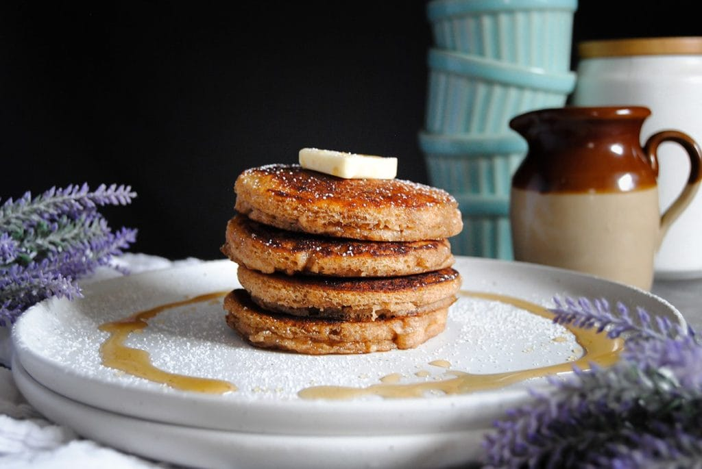 stack of four whole wheat pancakes