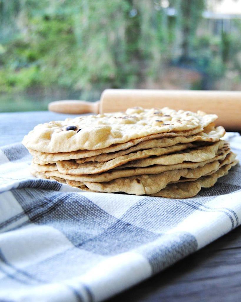 Homemade Fluffy Flour Tortillas - Side Angle
