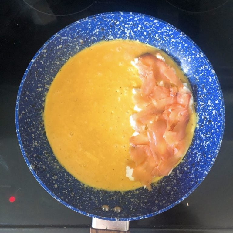 Lox and Schmear Omelette - Adding Lox   FurloughedFoodie.com