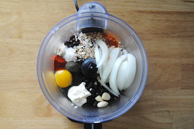 Smoky and Spicy Black Bean Burgers - Ingredients in Food Processor