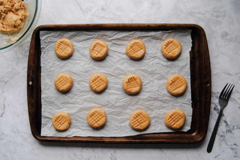 Vegan Peanut Butter Biscuits - Before Baking
