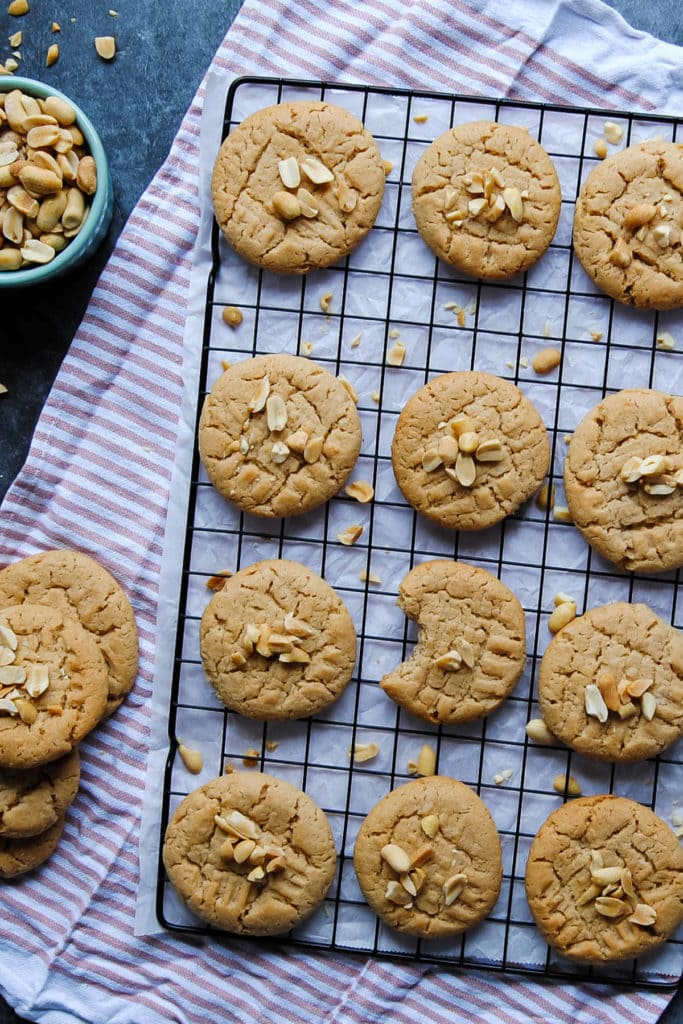 Vegan Peanut Butter Biscuits - Portrait With Bite