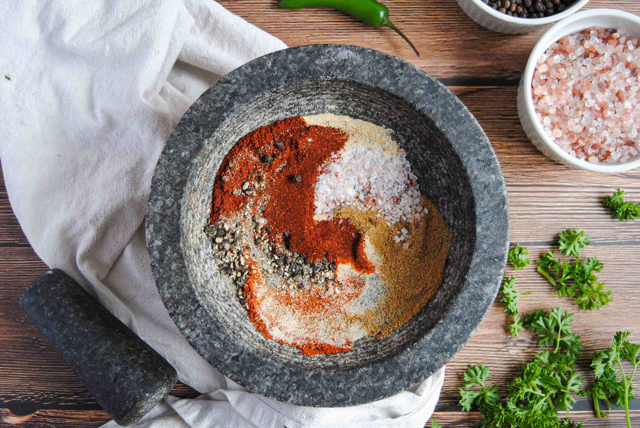 Wide Overhead Shot of taco and chili spices in mortar