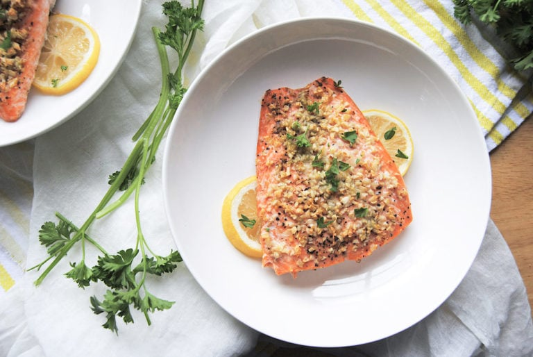 Roasted Garlic Salmon For Two - Closeup Overhead