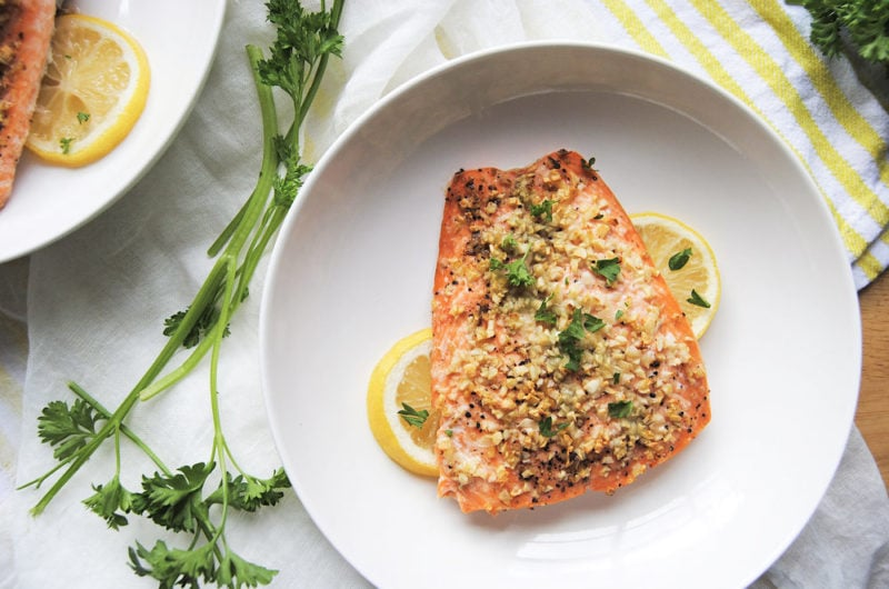 Roasted Garlic Salmon For Two