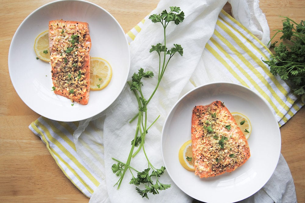 Roasted Garlic Salmon For Two - Overhead Shot of Two Plates