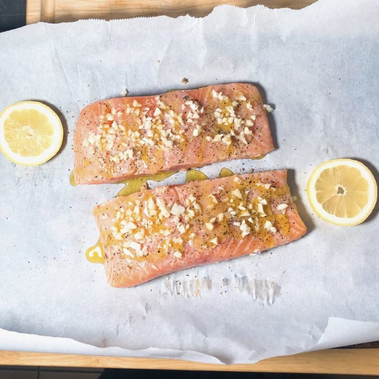 Roasted Garlic Salmon For Two - Ready For Oven | FurloughedFoodie.com