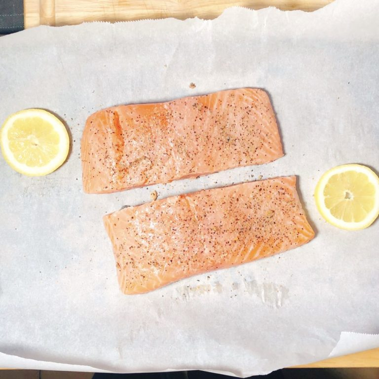 Roasted Garlic Salmon For Two - Seasoned | FurloughedFoodie.com