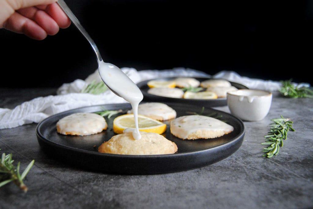 Rosemary Shortbread Cookies with Lemon Glaze - Glaze On Spoon