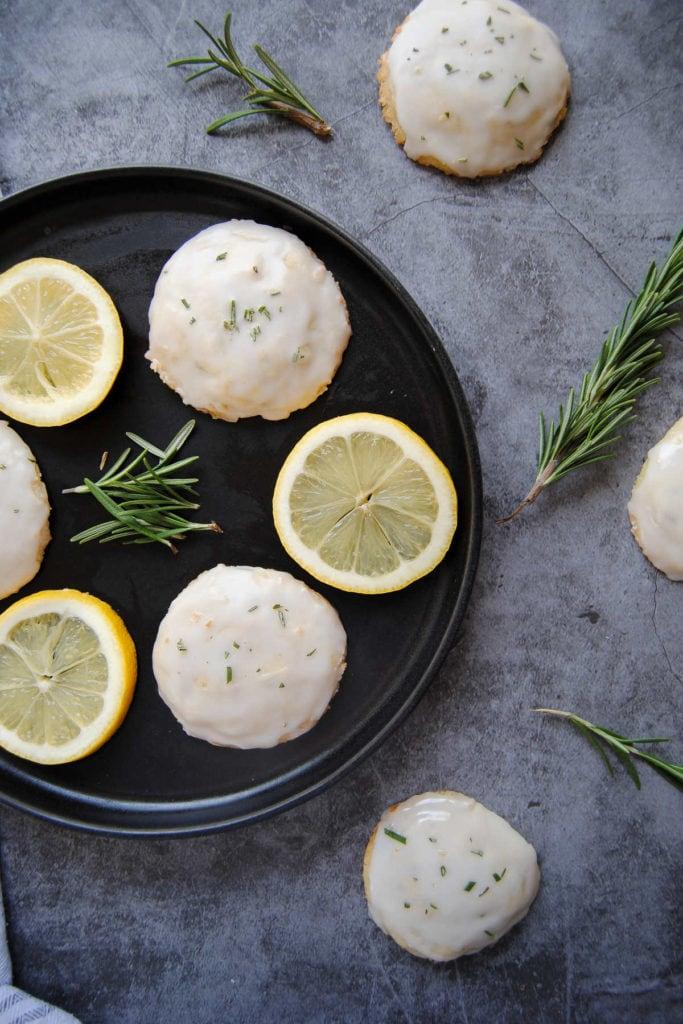 Rosemary Shortbread Cookies with Lemon Glaze - Portrait