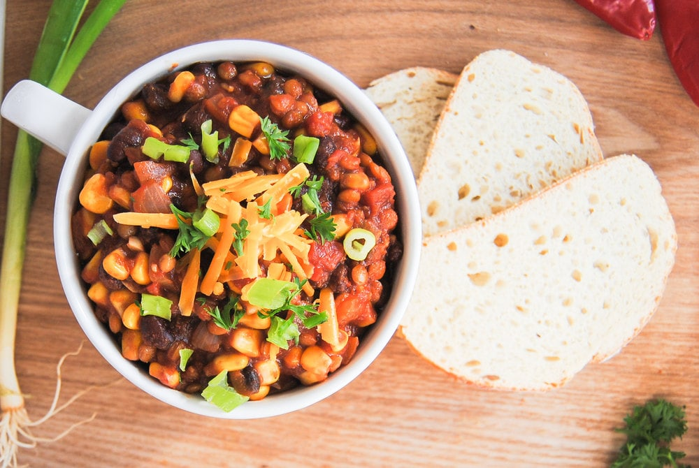 Vegan Chili With Lentils - On Wooden Tray