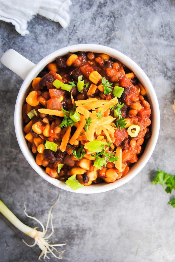 Vegan Chili With Lentils - Portrait