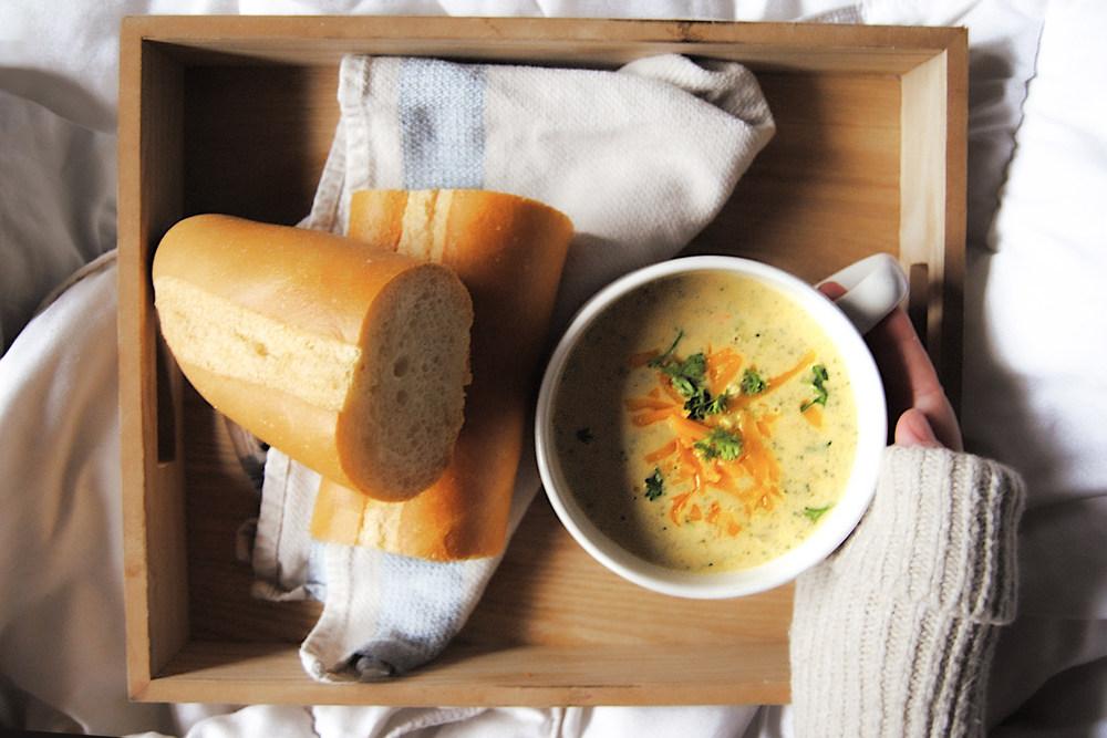 Best Vegetarian Broccoli Cheddar Soup - On Tray