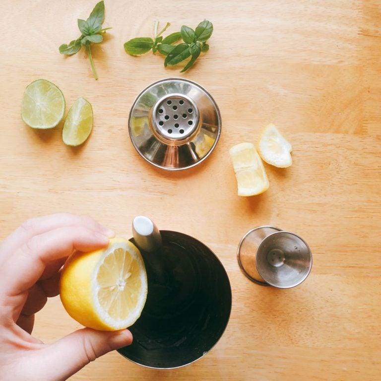 Citrus & Basil Gin Smash - Squeezing Lemon | FurloughedFoodie.com