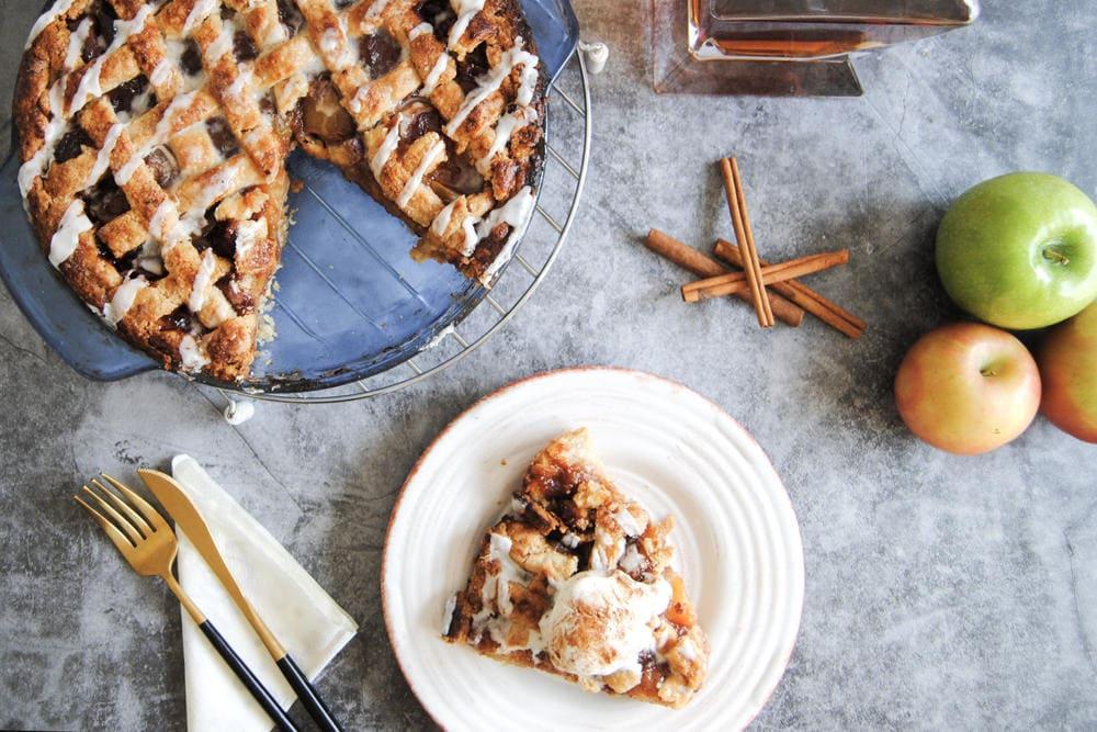 Drunken Apple Pie With Bourbon Drizzle - Sliced
