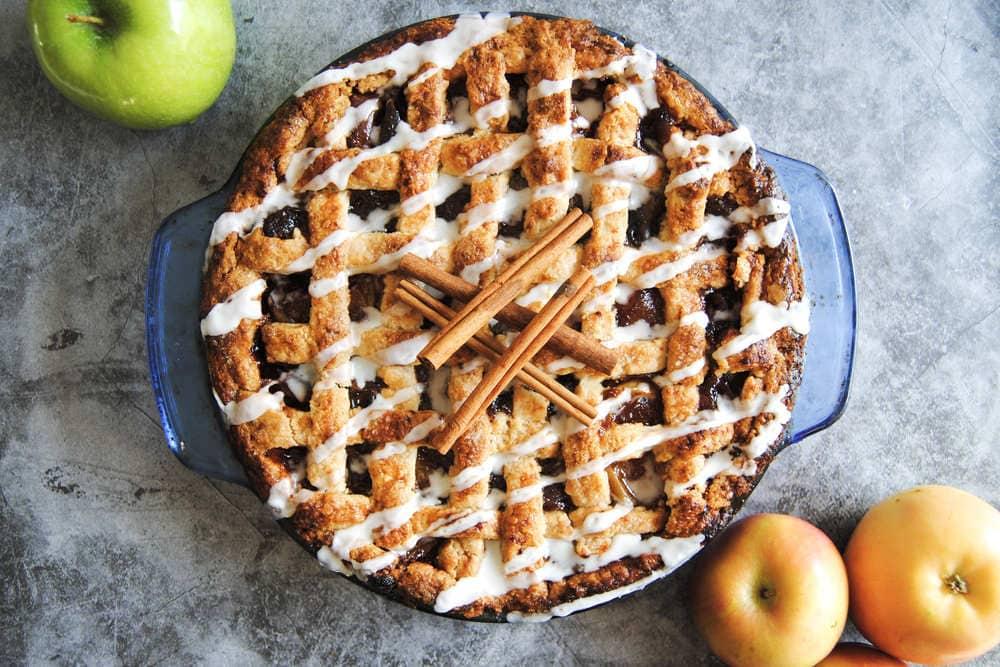 Drunken Apple Pie With Bourbon Drizzle - With Cinnamon Sticks