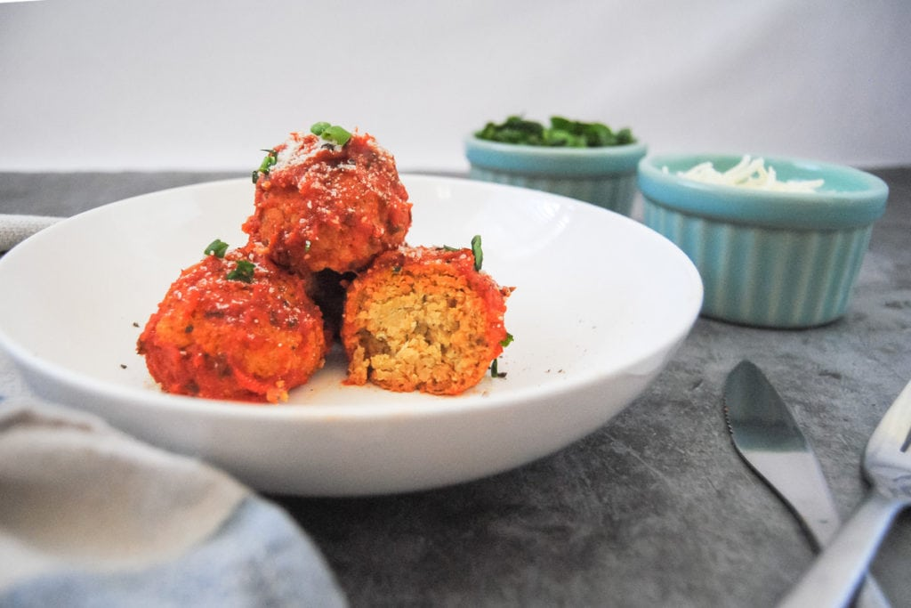 Meatless Chickpea Meatballs In Marinara - Cut Into