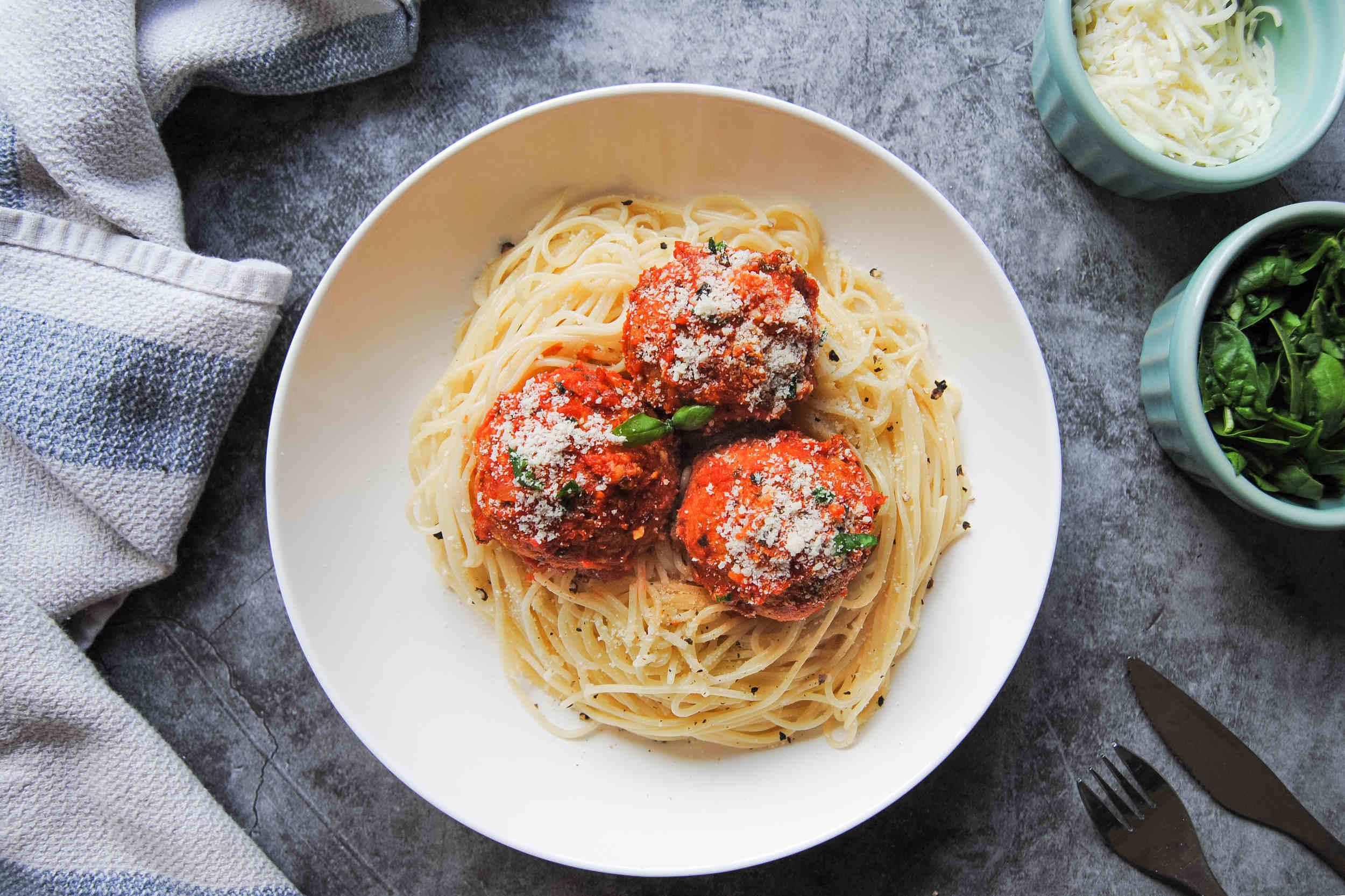 Meatless Chickpea Meatballs In Marinara - Featured Image