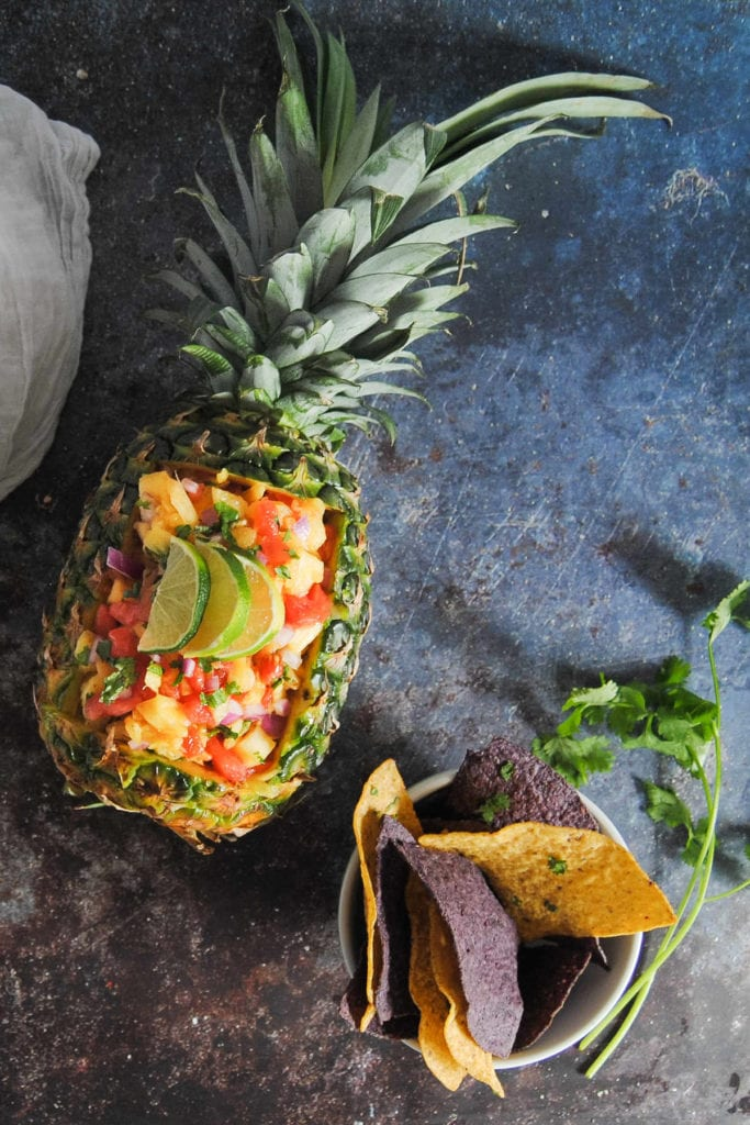 Sweet and Spicy Pineapple Salsa - Portrait in Pineapple