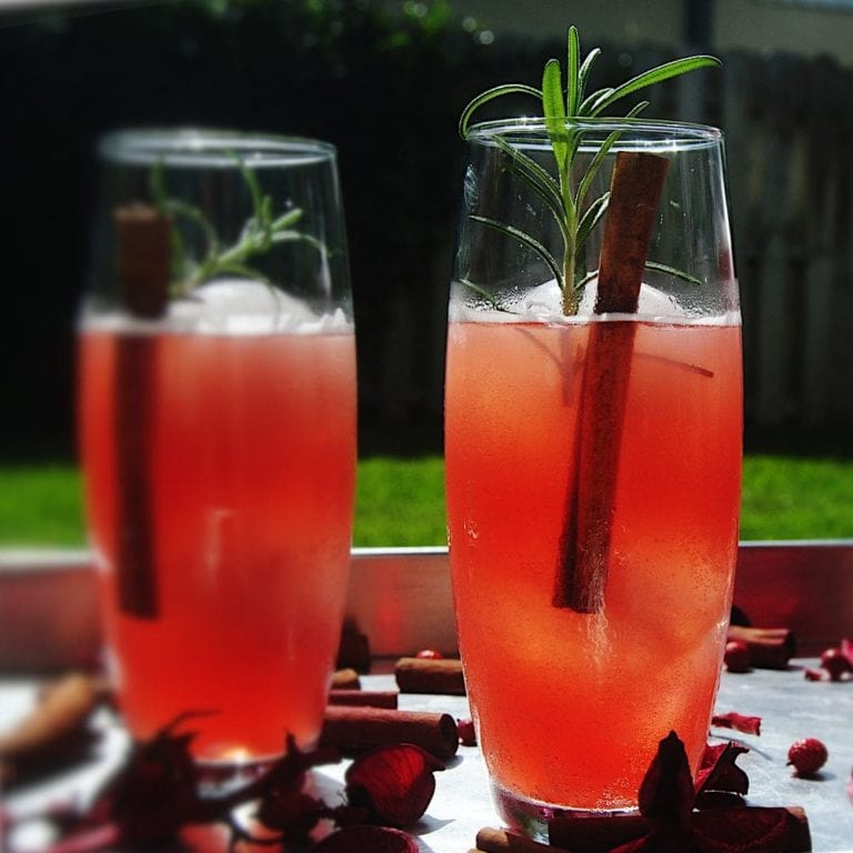 Sparkling Mulled Cranberry Cocktail - Close Up