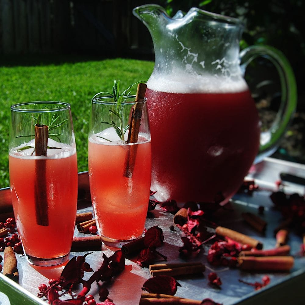 Sparkling Mulled Cranberry Cocktail - With Pitcher Close Up
