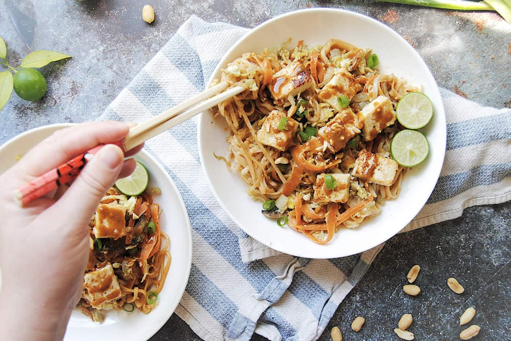 Thai Spicy Peanut Noodles - Using Chopsticks