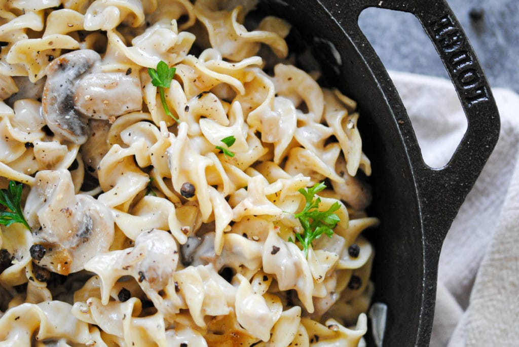 Closeup of Stroganoff in Cast Iron