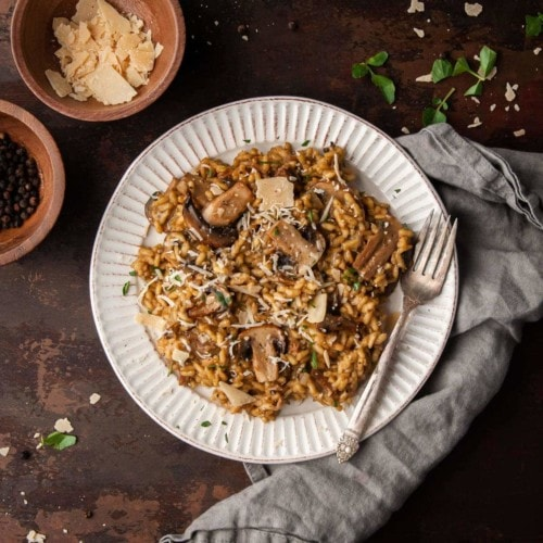 Gourmet Truffle Mushroom Risotto on a plate