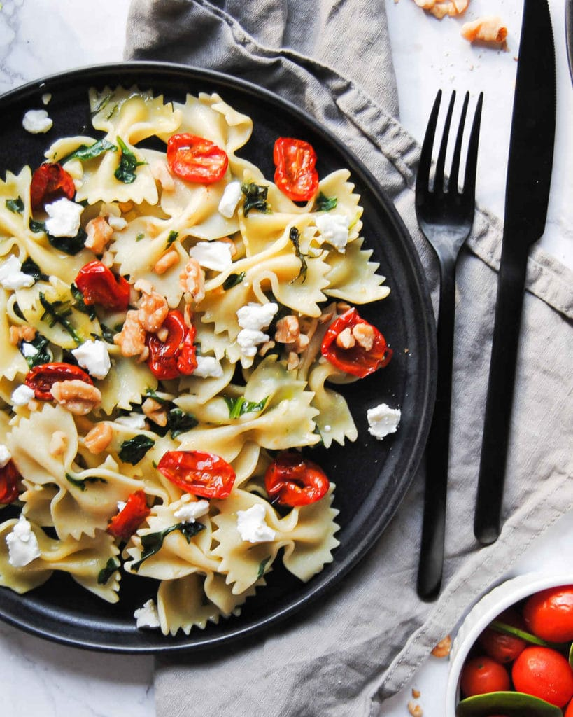 Portrait of Bowtie Pasta with Knife and Forkl