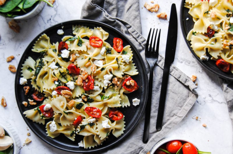 Sherry Bowtie Pasta with Roasted Tomatoes and Goat Cheese