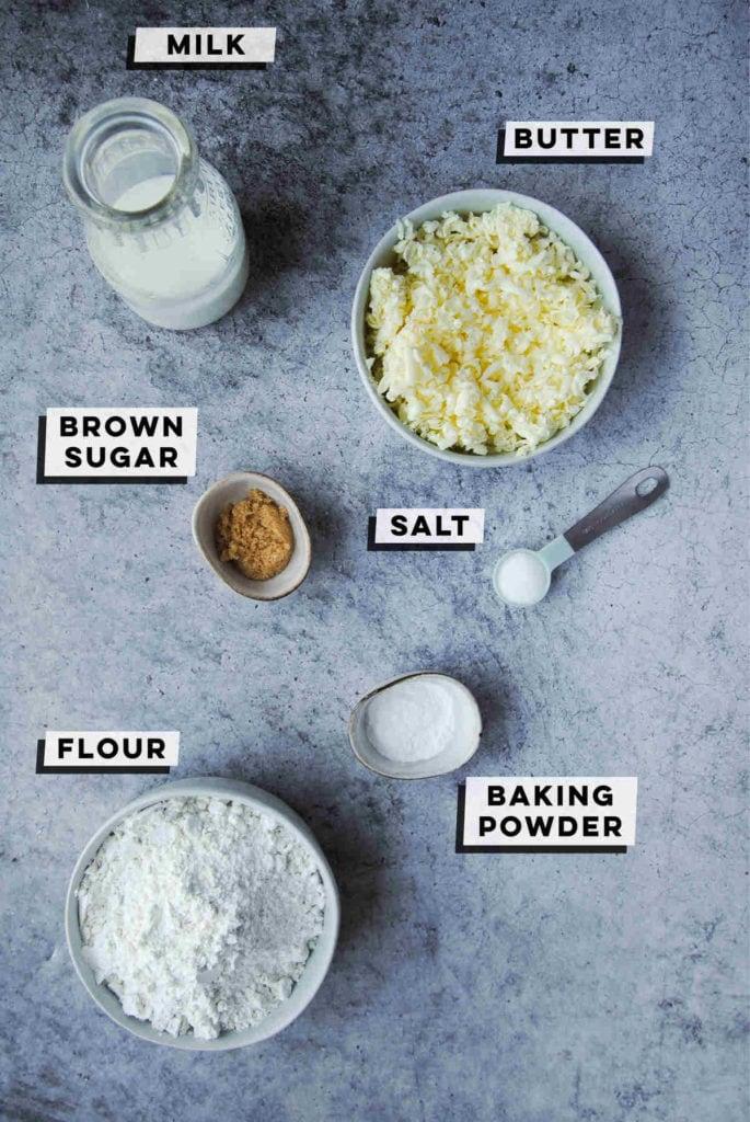 milk. grated butter, brown sugar, salt, baking powder, all-purpose flour