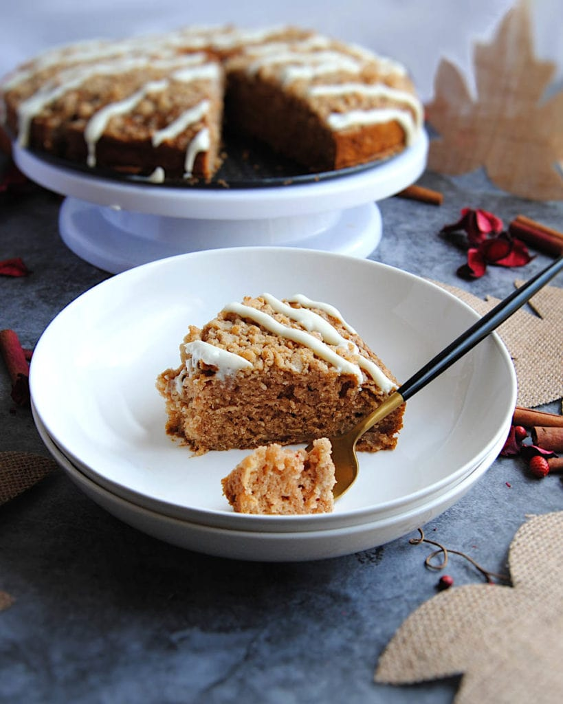 Fall Apple Cake With Streusel Top - Bite on Fork