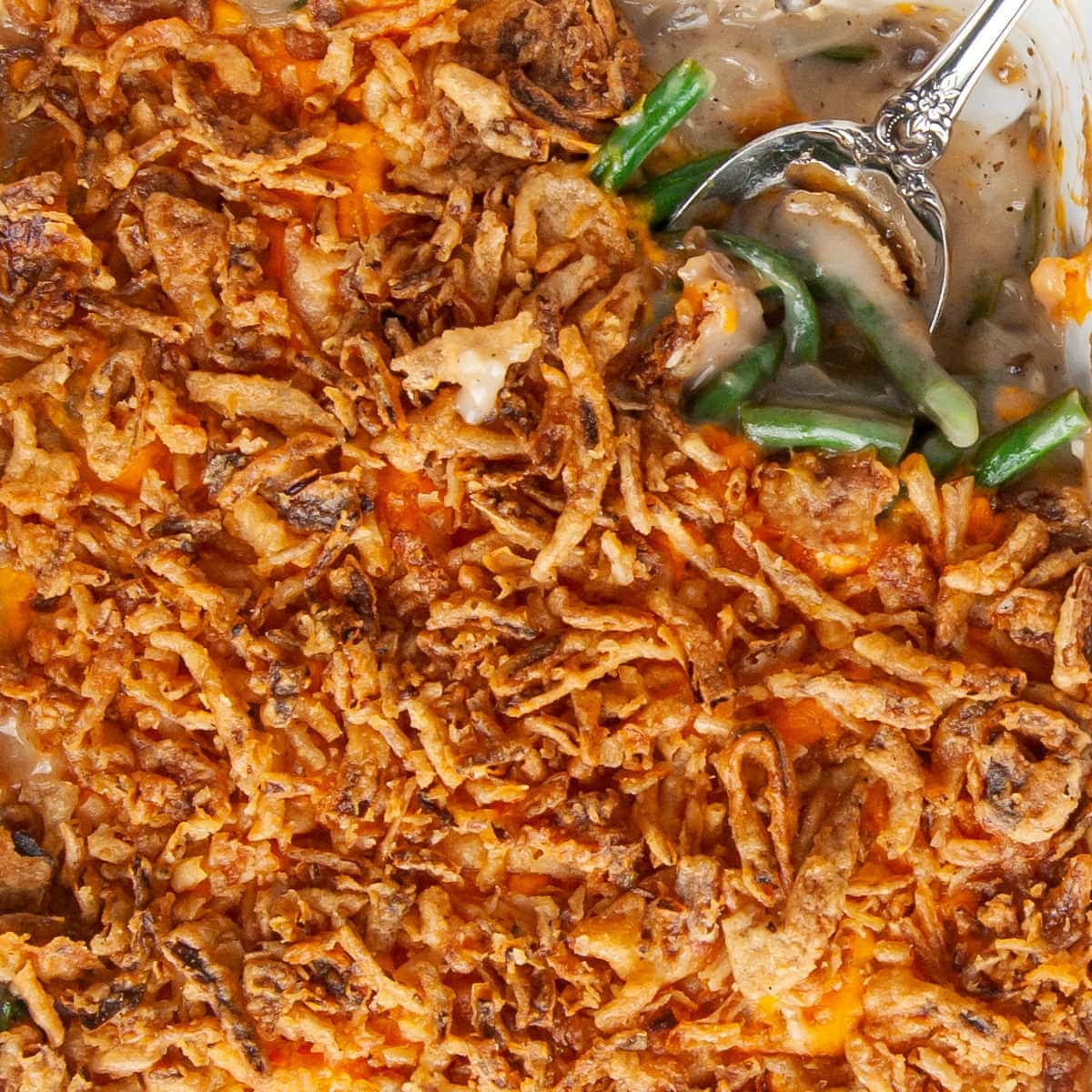 close up of green bean casserole with secret ingredient