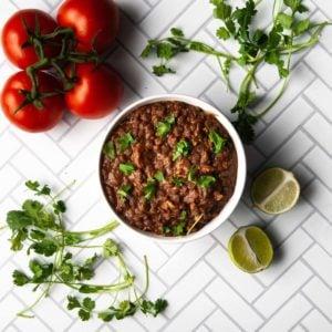 overhead shot of lentil walnut taco meat