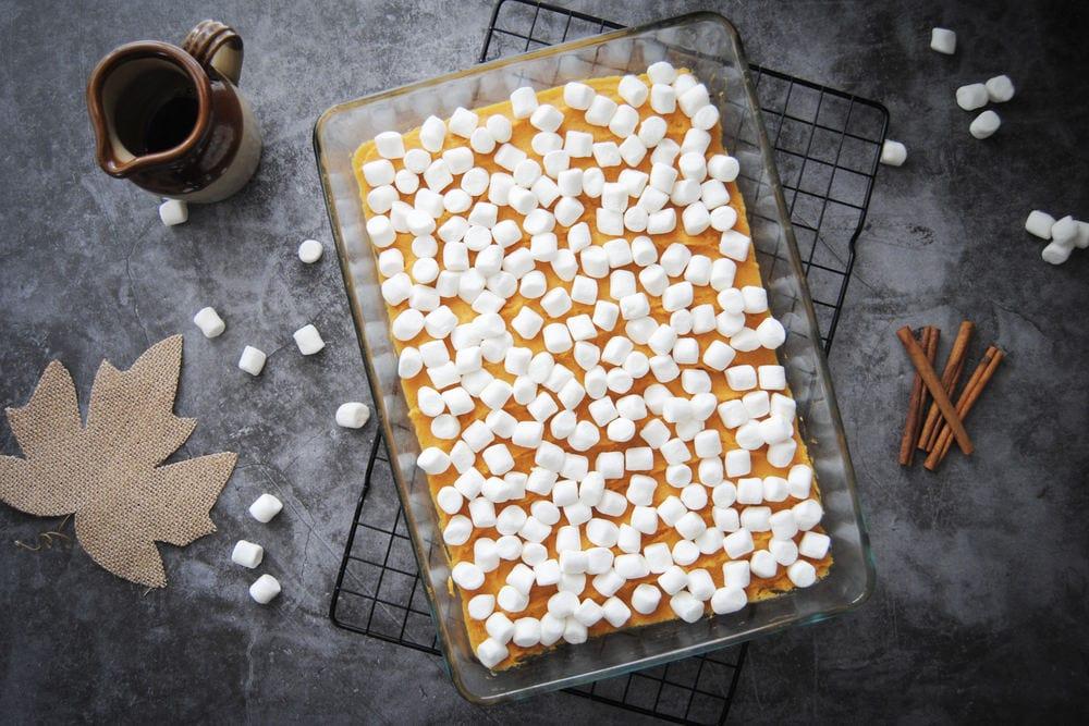 5-Ingredient Maple Sweet Potato Casserole - Adding Marshmallows