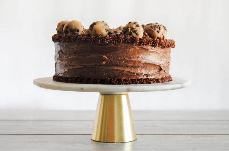 Chocolate Cookie Dough Cake with Tangy Frosting