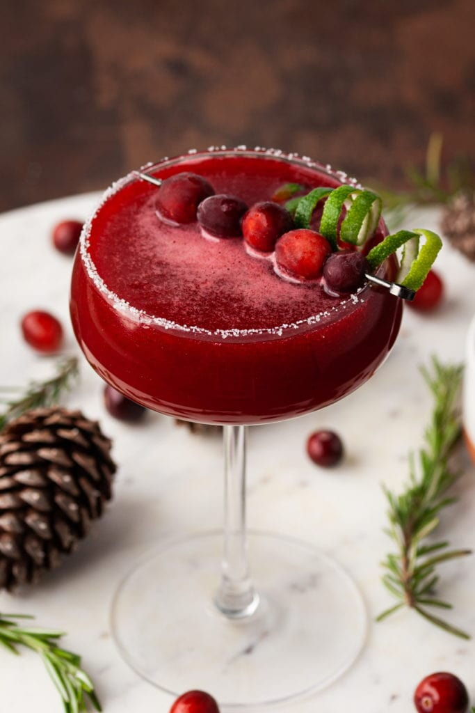 vibrant cosmopolitan made with leftover cranberry sauce
