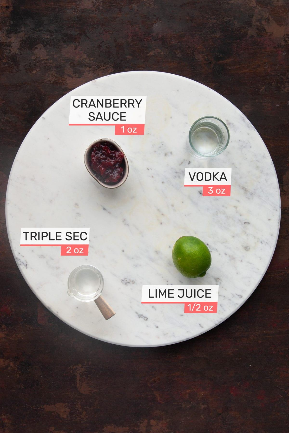 cranberry sauce, vodka, triple sec, and lime juice