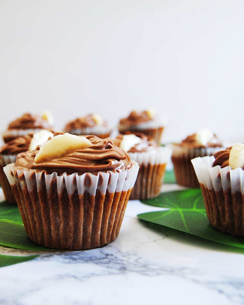 Banana Muffins with Nutella Ganache - Portrait With Liners