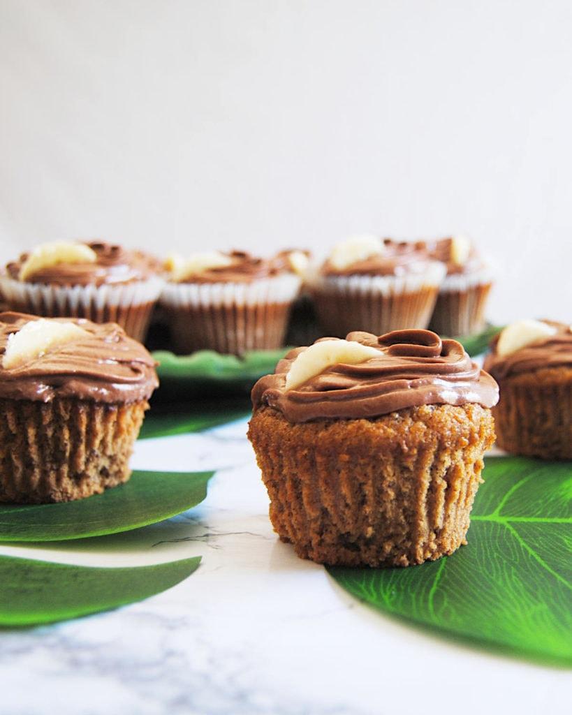 Banana Muffins with Nutella Ganache -