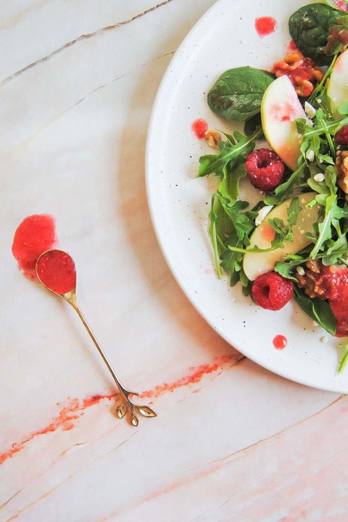 Vibrant Raspberry Vinaigrette Dressing- Portrait With Spoon