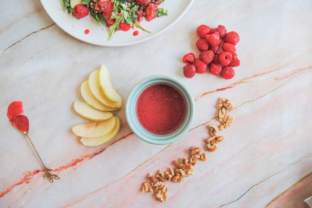 Vibrant Raspberry Vinaigrette Dressing- Surrounded By Fruit