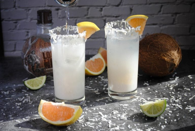 finishing off coconut daiquiri with club soda