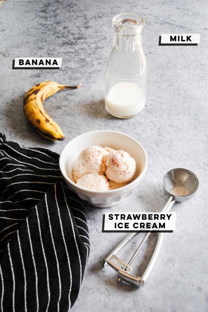 banana, milk, and strawberry ice cream