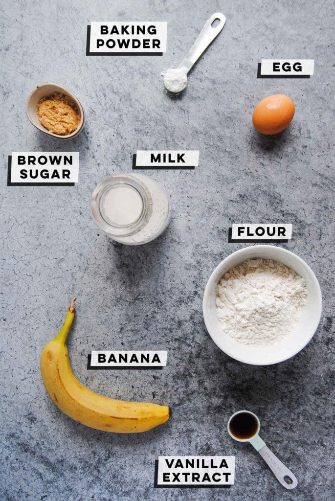 baking powder, brown sugar, egg, milk, flour, banana, and vanilla extract