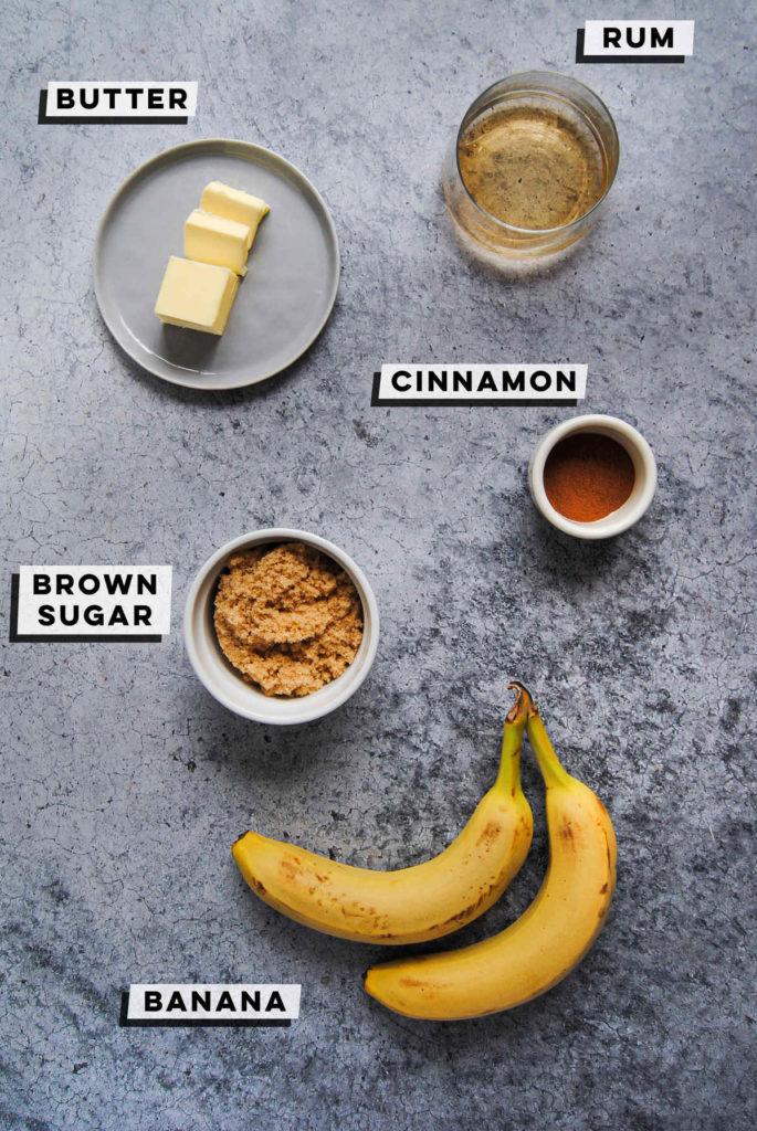 butter, rum, brown sugar, cinnamon, and bananas