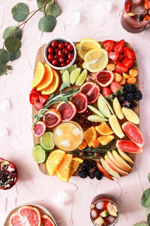 Charcuterie Board with all fruits and herbs
