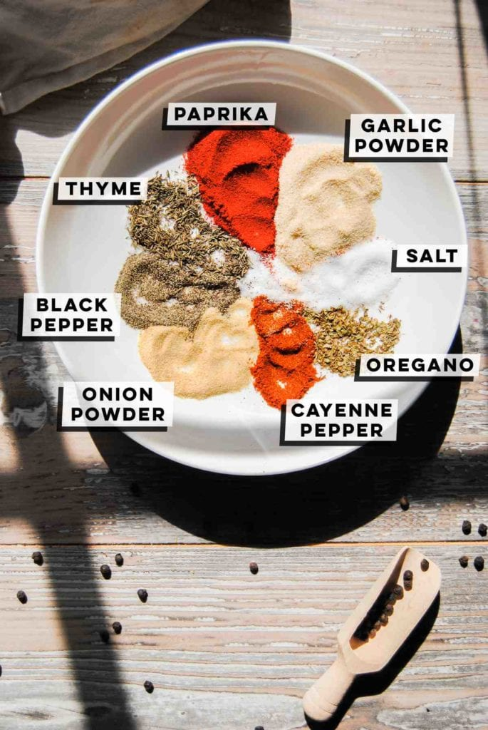 thyme, paprika, garlic powder, salt, oregano, cayenne pepper, onion powder, black pepper